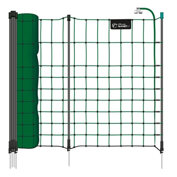 VOSS.farming farmNET+ 50m Kleintiernetz, Kaninchenzaun, 65cm, 20 Pfähle, 1 Spitze, grün