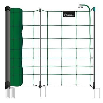 VOSS.farming farmNET+ 50m Schafnetz, Ziegennetz, Elektronetz, 90cm, 20 Pfähle, 2 Spitzen, grün