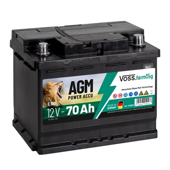 "VOSS.farming ""12V AGM Akku 70Ah"" für Weidezaungeräte"