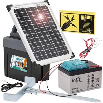 """VOSS.farming """"KAPPA 7 SOLAR"""", starkes Weidezaun-Set + 12V Akku + 12W Solar"""