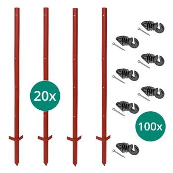 VOSS.farming Set: 20x Winkelstahlpfähle 115cm + 100x Ringisolatoren mit Splint