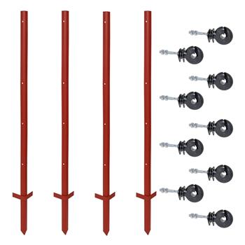 VOSS.farming Set: 40x Winkelstahlpfähle 115cm + 175x Ringisolatoren mit M6 Gewinde