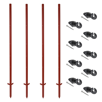 VOSS.farming Set: 40x Winkelstahlpfähle 165cm + 200x Ringisolatoren mit Splint