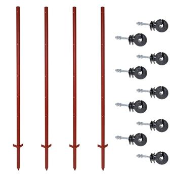 VOSS.farming Set: 40x Winkelstahlpfähle 165cm + 200x Ringisolatoren mit M6 Gewinde