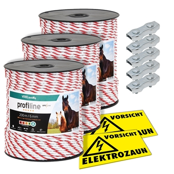 3x VOSS.farming Weideseil 200m, Ø 6mm, 6x0,25 HPC® Powerleiter + 5x Verbinder + 2x Warnschilder