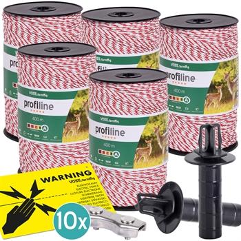 5x VOSS.farming Weidezaunlitze 400m, 3x 0,25 Kupfer + 3x 0,20 Niro, inkl. 10x Verbinder & Warnschild