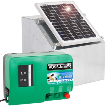 VOSS.farming Set: 12W Solarsystem + 12V Weidezaungerät GreenEnergy + Box