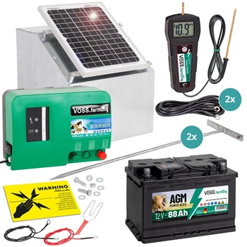 VOSS.farming Komplett-Set: 12W Solarsystem + Box + 12V Weidezaungerät GreenEnergy + 88Ah Akku