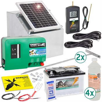 VOSS.farming Komplett-Set: 12W Solarsystem + Box + 12V Weidezaungerät GreenEnergy + 85Ah Akku