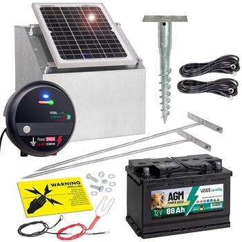 VOSS.farming Komplett-Set: 12W Solarsystem + Box + 12V Weidezaungerät impuls duo DV40 + 88Ah Akku