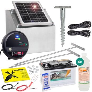 VOSS.farming Komplett-Set: 12W Solarsystem + Box + 12V Weidezaungerät impuls duo DV40 + 85Ah Akku