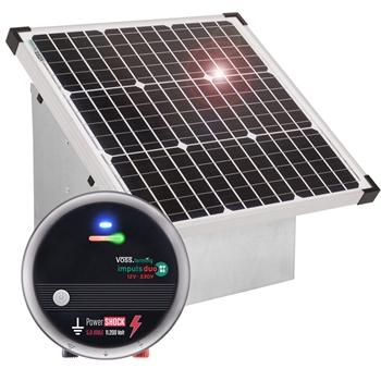 VOSS.farming Top Set: 35W Solarsystem + starkes 12V Weidezaungerät impuls duo DV80 (5J) + Tragebox