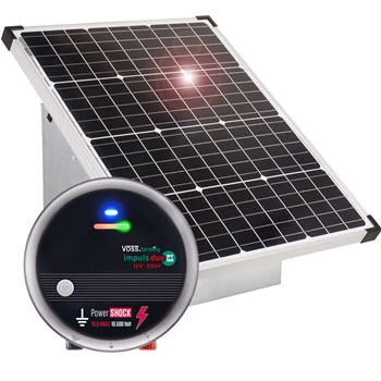 VOSS.farming Top Set: 55W Solarsystem + extrem starkes 12V Weidezaungerät DV160 + Tragebox