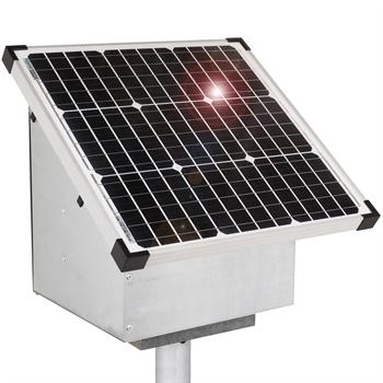 VOSS.farming 35W Solar Anti-Diebstahlkasten, Weidezaun, inkl. Aufstellpfahl + Zubehör
