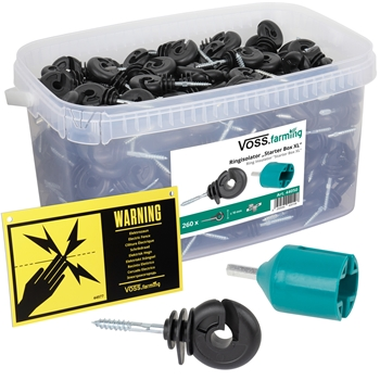 "VOSS.farming ""Starter Box XL"" - 260x Ringisolator + Einschrauber + Warnschild"