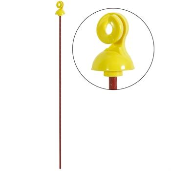 25x VOSS.farming Federstahlpfahl, rund, 65 cm, Kopfisolator, gelbe Öse