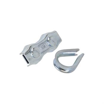 3x VOSS.farming Seilanschluss Set mit Kauschen, verzinkt, 6mm