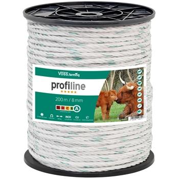 Weidezaun Seil 200m 8mm, 4x0,30 Kupfer + 4x0,3 Niro, weiß-grün 5*****