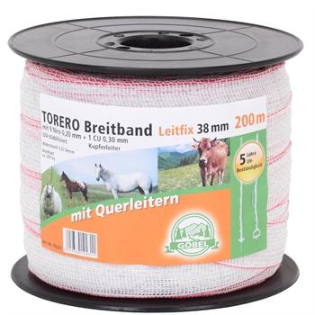 """Weidezaunband """"TORERO"""", 200m, 38mm, 9x0,20 Niro + 1x0,30 CU, Querleiter"""