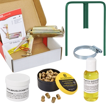 VOSS.garden Wühlmausschussgerät + 50x Kartuschen + Halterung + Lockmittel + Öl