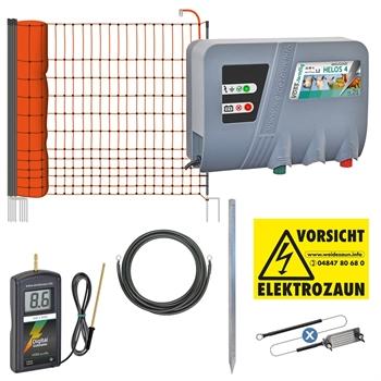 VOSS.farming elektrischer Hühnerzaun, 50 m Geflügelnetz mit 12V/230V-Weidezaungerät
