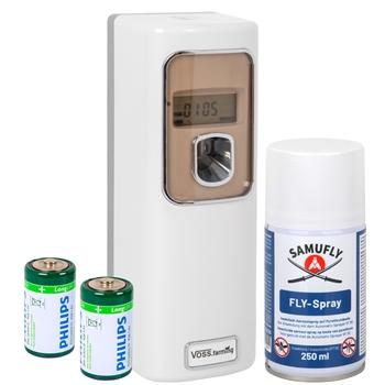 SET SAMUFLY FLY- Insekten-Spray + Automatik Sprüher - Mittel gegen Fliegen, Mücken, Bremsen etc.