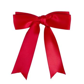 QHP Warnschleife für Pferdeschweif in rot, mit Klammer-Befestigung