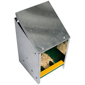 Geflügel-Futterautomat mit schrägem Deckel, verzinkt (2,5 kg)