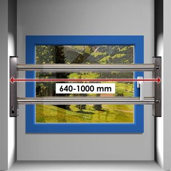 fenstersicherung sicherungsstange t rsicherung einbruchschutz 2fach 640 1000mm ebay. Black Bedroom Furniture Sets. Home Design Ideas
