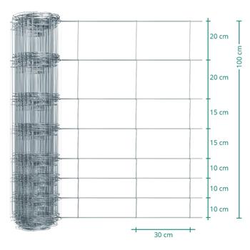 50m VOSS.farming Premium Plus Wildzaun, Knotengeflecht, Höhe 100cm - 100/08/30