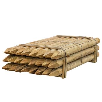 24x VOSS.farming Holzpfähle rund, Zaunpfahl Holz, Kesseldruckimprägniert Klasse 4, 200cm x 140mm