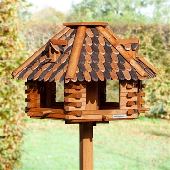 """Riesengroßes VOSS.garden Vogelhaus """"Herbstlaub"""" aus Holz mit massivem Ständer - Gesamthöhe 1,45m!"""