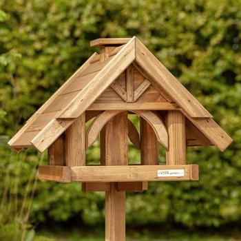 """Großes VOSS.garden Vogelhaus """"Finkenheim"""" aus Holz, inkl. Ständer"""