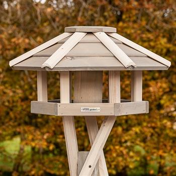 """VOSS.garden """"Valbo"""" - hochwertiges Vogelhaus mit Kreuzstandfuß, weiß"""