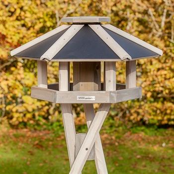 """VOSS.garden """"Norje"""" - hochwertiges Vogelhaus mit Kreuzstandfuß, weiß"""