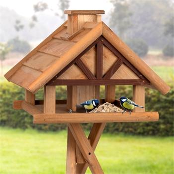 """VOSS.garden """"Levar"""" - hochwertiges Vogelhaus mit Kreuzstandfuß, natur"""