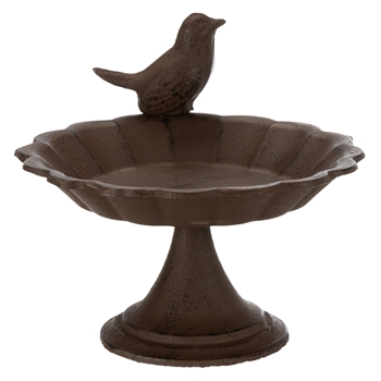 Vogeltränke/-bad zum Hinstellen, Gusseisen, 250ml, Ø 16cm, braun