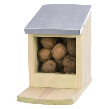 Futterstation für Eichhörnchen, Kiefernholz/ Metall, 12 x 18 x 24cm
