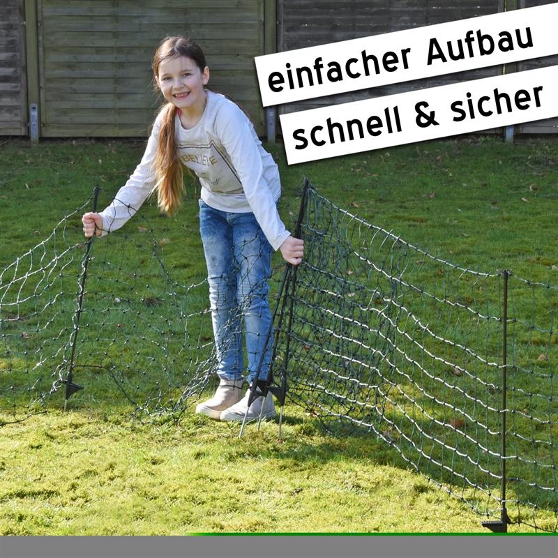 Kaninchennetz 9 Pfähle Gartenzaun//Weidezaun 12m//65cm Auslauf Gehege grün
