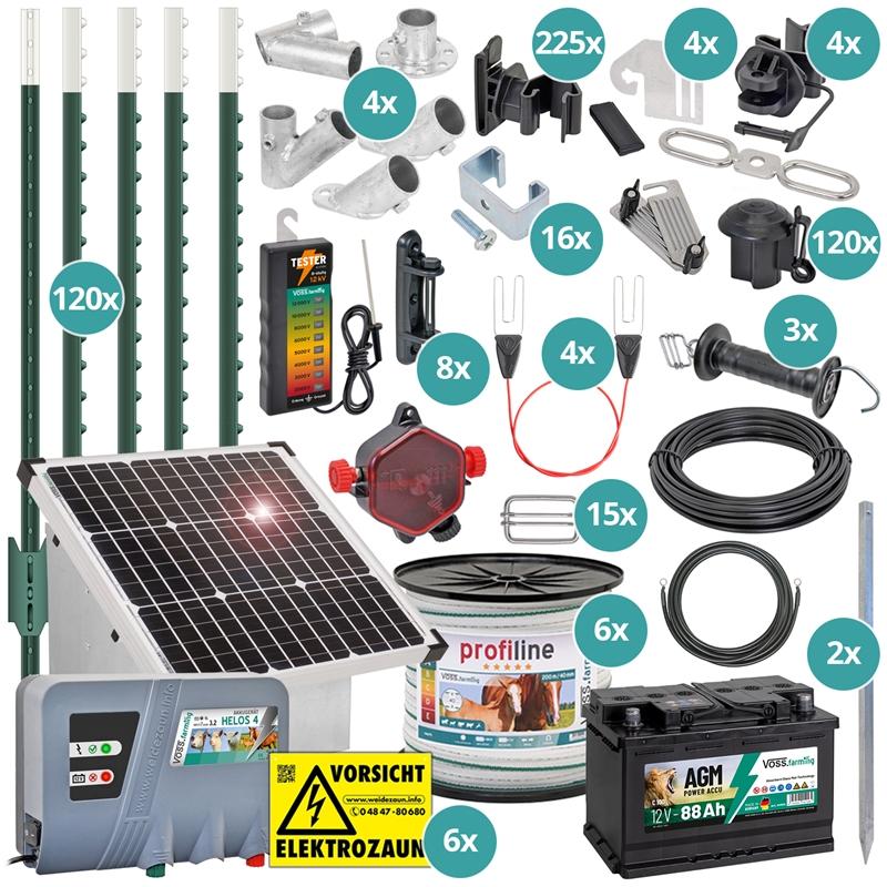 42269-voss-farming-pferdezaun-t-pfosten-set-fuer-400m-3x-reihen-band-182cm-mit-35w-solar-weidezaunge