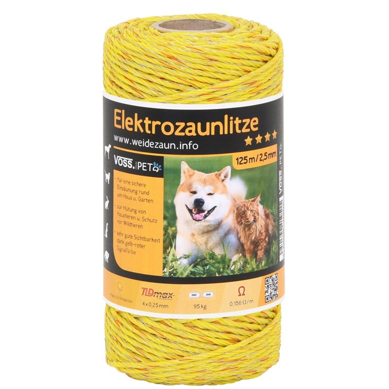 VOSS.PET Elektrozaun Litze - 125 m - 4x0,25 TLD - gelb