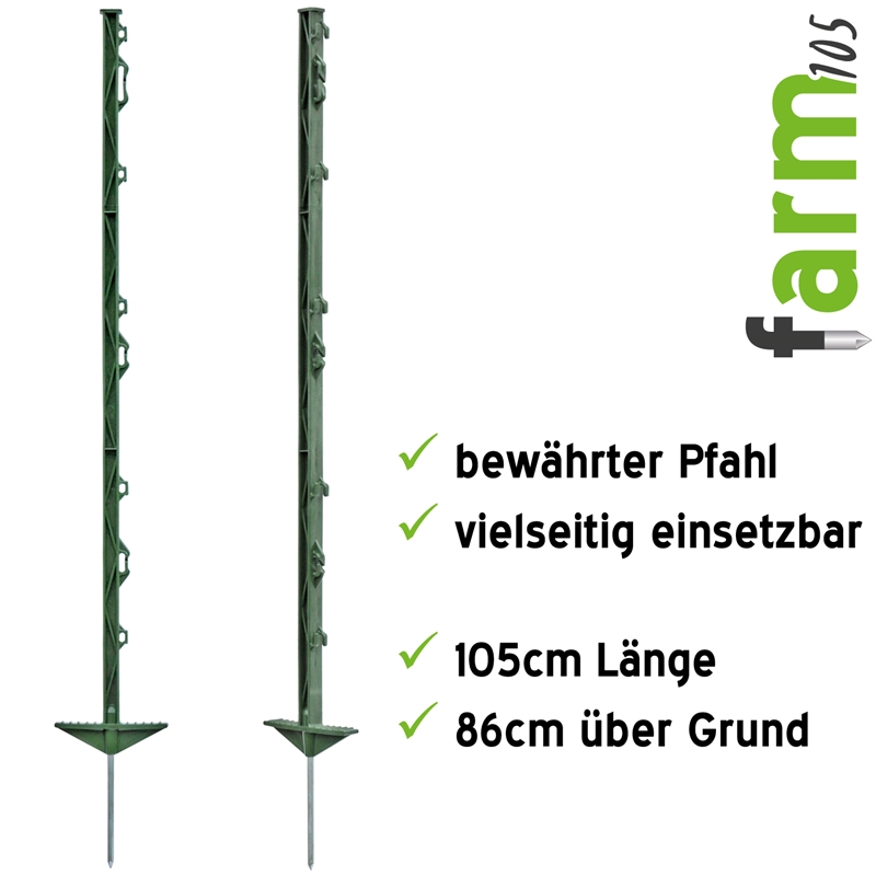 Weidezaunpfähle 105 cm weiß oder grün Weidezaun Zaunpfahl Elektrozaun NEU