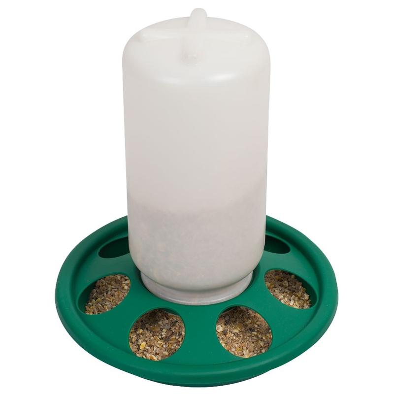 Kükenfuttertrog mit Schraubverschluss, 1 kg, 7 Löcher (grün)