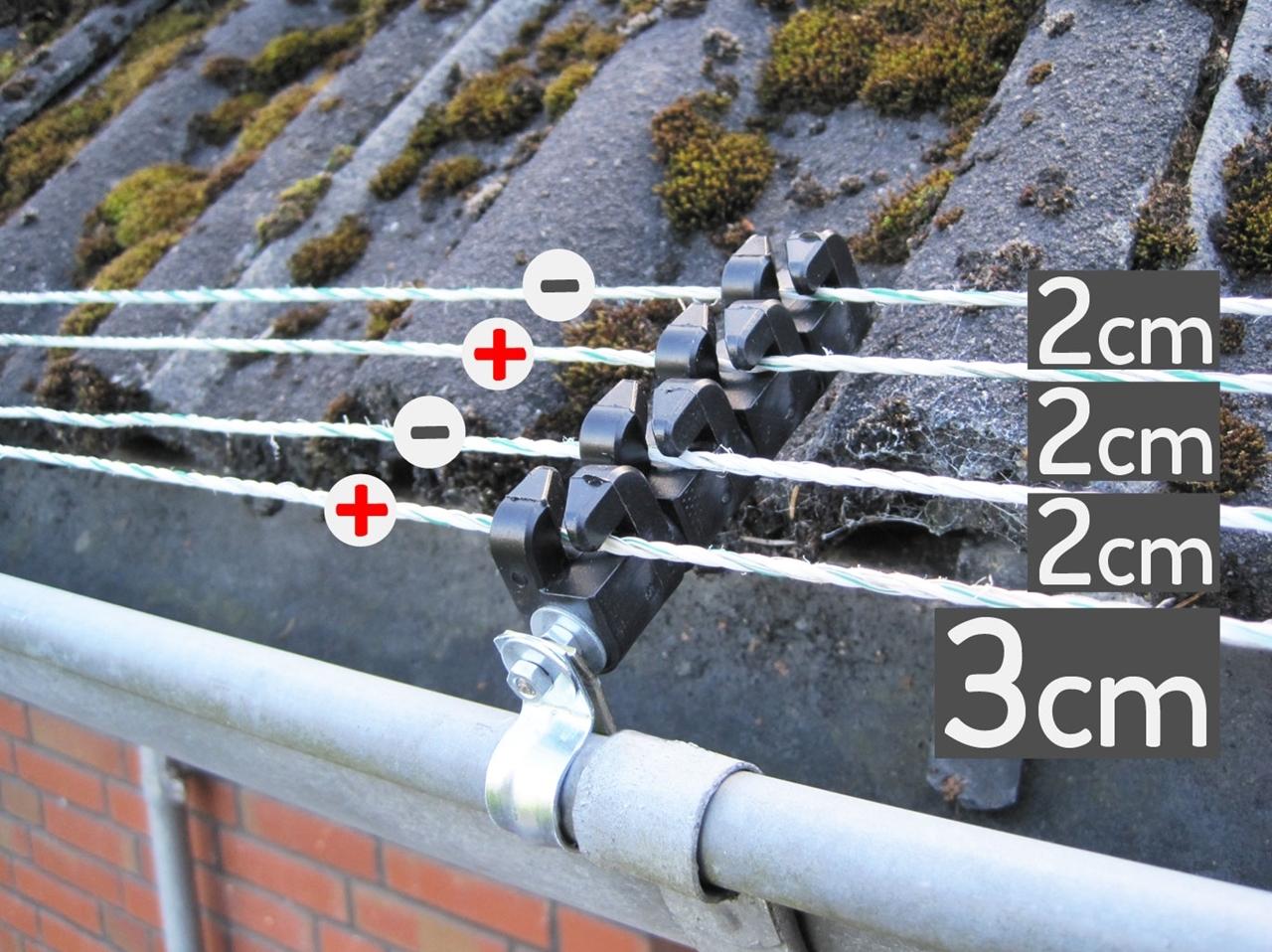 Bei Berührung von zwei Leitern bekommt der Marder den Stromimpuls. Die Dachrinne dient als Masseleiter.