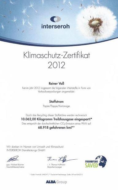 Weidezaun.info spart CO2 ein - 2012