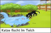 Hundehalter.net Ratgeber - Katze fischt im Teich